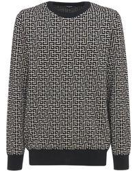 Balmain Monogram ウールブレンドニットセーター - ブラック