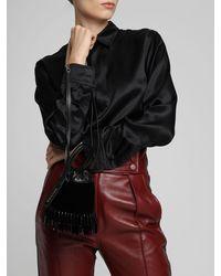 Rochas Leather & Velvet Camera Bag - Schwarz
