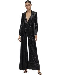 Elie Saab Long Sequined Jumpsuit W/ Scarf - Black