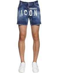 DSquared² Shorts Aus Stretch-denim Mit Logo - Blau