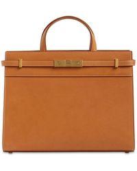 Saint Laurent Small Manhattan Leather Top Handle Bag - Brown