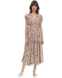 Emilia Wickstead Floral Print Silk & Wool Midi Dress - Многоцветный