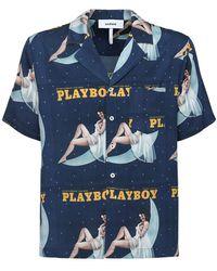 "Soulland Camicia Bowling ""playboy X Moon"" - Blu"