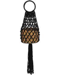 Sensi Studio Mini Straw & Cord Handbag - Black