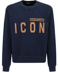 DSquared² Logo Print Cotton Jersey Sweatshirt - Синий