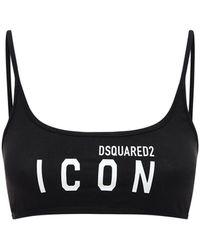 DSquared² Logo Print Jersey Bandeau Crop Top - Black