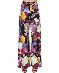 Dolce & Gabbana Pantalones De Viscosa Jersey Con Estampado - Multicolor