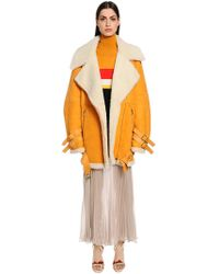 Vionnet - Oversized Suede & Shearling Coat - Lyst