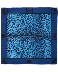 Dolce & Gabbana Dg Leopard シルクツイルスカーフ - ブルー