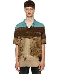 Marcelo Burlon Camisa De Viscosa Con Estampado Y Mangas Cortas - Multicolor