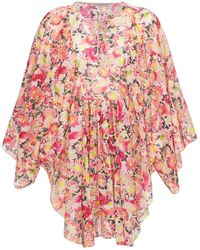 Stella McCartney Floral コットンボイルミニドレス - ピンク