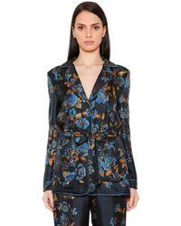 Alberta Ferretti - Floral Printed Silk Twill Jacket - Lyst