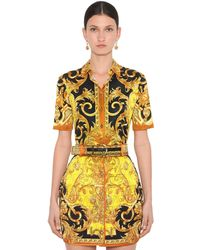 Versace Printed Stretch Jersey Shirt - Yellow