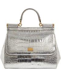 Dolce & Gabbana Sicily Dauphine メタリックレザーバッグ