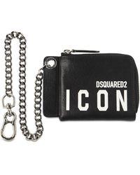 DSquared² Icon レザーチェーンウォレット - ブラック