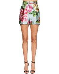 Dolce & Gabbana Shorts Aus Shantung Mit Blumendruck - Mehrfarbig