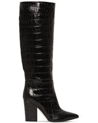 Sergio Rossi 90mm Sergio Croc Embossed Leather Boots - Black