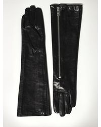 Karl Lagerfeld Rocky Long Slouchy Leather Gloves - Black
