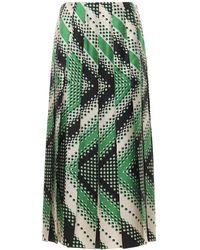 Gucci Юбка Из Шелка С Цветочным Принтом - Зеленый