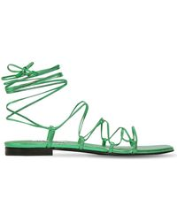 The Attico 10mm Metallic Leather Lace Up Sandals - Зеленый