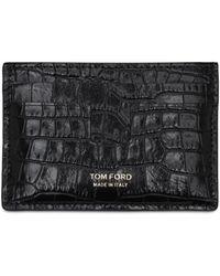 Tom Ford クロコエンボスレザーカードケース - ブラック
