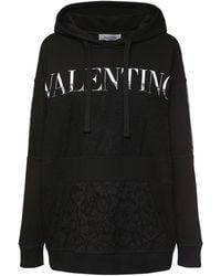 Valentino コットンジャージーフーディー - ブラック