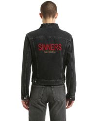 Balenciaga - Sinners Embroidered Cotton Denim Jacket - Lyst