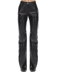 MSGM Pantalon En Simili Cuir Estampé Croco - Noir