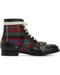 Gucci - Queercore Leather & Tweed Boots - Lyst