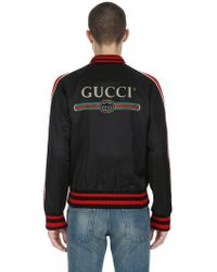 Gucci - Patched Duchesse Satin Bomber Jacket - Lyst