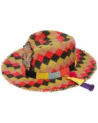 Etro Checked Straw Hat W/ Beaded Hatband - Red