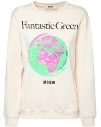 MSGM Bedruckter Pullover Aus Bio-baumwolle - Weiß