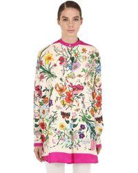 5a00f523c Gucci - Camisa Oversize De Sarga De Seda Con Estampado - Lyst
