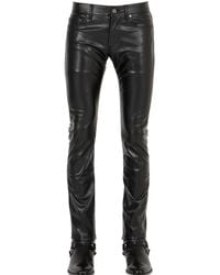 Saint Laurent 17.5cm Stretch Faux Leather Jeans - Black
