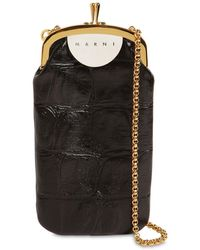 Marni Croc Embossed Leather Phone Case - Black