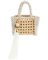 Rosantica Alida Straw Beaded Top Handle Bag - Weiß