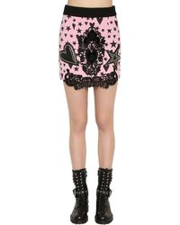 Fausto Puglisi Wool Crepe Mini Skirt W/ Lace & Leather - Pink