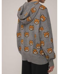 Moschino Teddy ウールニットフーデッドセーター - グレー