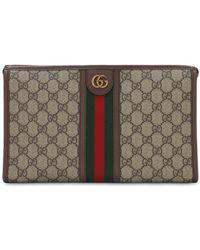 Gucci Gg Supreme Canvas & Web Toiletry Bag - Natural