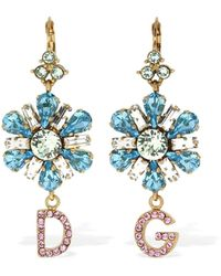 Dolce & Gabbana D&g Blooming Flower Crystal Earrings - Blau