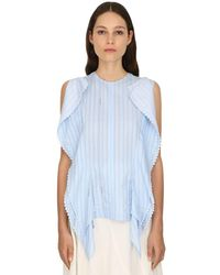 JW Anderson Striped Logo Cotton Gazar Top W/macramé - Blau