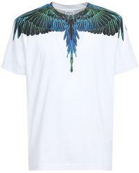 Marcelo Burlon Wings コットンジャージーtシャツ - ブルー