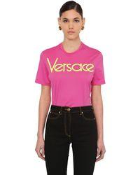 Versace T-shirt Aus Jersey Mit 80er-logo - Pink