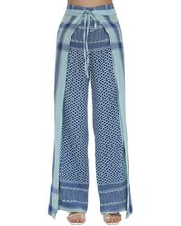 """Cecilie Copenhagen Pantaloni """"hella"""" In Felpa Di Cotone - Blu"""
