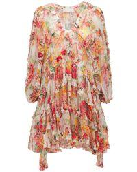 Zimmermann Платье Из Шелкового Шифона С Принтом - Многоцветный