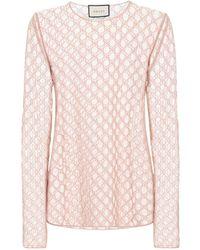 Gucci Gg-besticktes Oberteil Aus Tüll - Pink