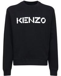 KENZO Хлопковый Свитшот С Принтом Логотипа - Черный
