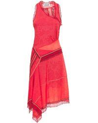 Koche Asymmetric Layered Lace Midi Dress