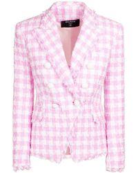 Balmain Blazer Aus Baumwollmischtweed - Pink