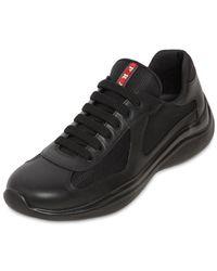 """Prada Sneakers Aus Mesh Und Leder """"america's Cup"""" - Schwarz"""